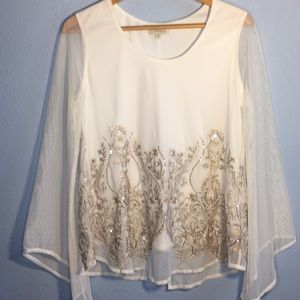 NWOT Sequins and Embroidered Long Sleeve Top